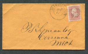 Postal History - Weston VT 1865 Red CDS Manual Cancel 3c Washington B0229