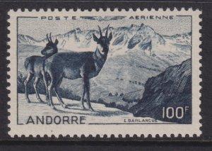 Sc# C1 French Andorra 1950 Chamois airmail 100 franc issue MLH CV $87.50