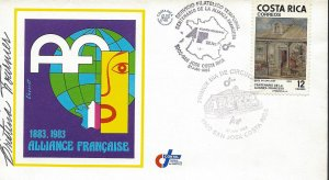 COSTA RICA FRENCH ALLIANCE CENTENARY,SIGNED, Sc 282 FDC 1983