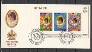 Belize, Scott cat. 634. Diana`s Birthday s/sheet o/printed. First day cover. ^