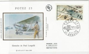 France 1998 POTEZ 25 P.Lengelle Plane Pic Slogan Cancel & Stamp FDC Cover  31643