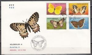 Turkey, Scott cat. 2421-2424. Butterflies issue on a First Day Cover. ^
