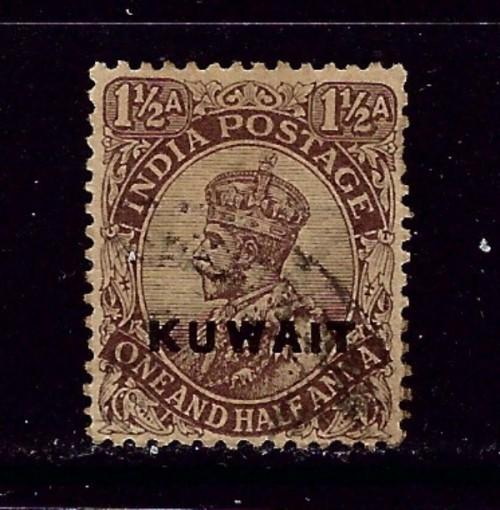 Kuwait #3 Used 1923 overprint of India stamp couple short perfs