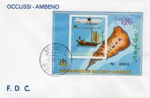 Timor (Ocussi-Ambeno) 1978 Coronation $10 SS Imperforated  FDC  ovpt.Gold
