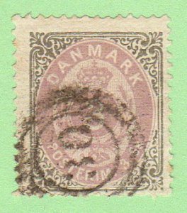 DEN SC #17 1871 Numeral w/nibbed perfs @ B, exp. mark (?) on back, 30 (Horsens