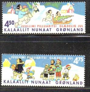 Greenland Sc 403-4 2002 Christmas stamp set mint NH