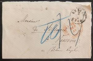 1871 Krakow Poland Stampless Cover to Warsaw