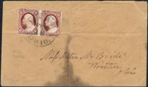 #11 3¢ GENTS ERROR PAIR POS.66R2L ON COVER BP8936
