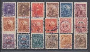 Salvador Sc 78/157D used. 1893-97 issues, 18 different, sound, F-VF.