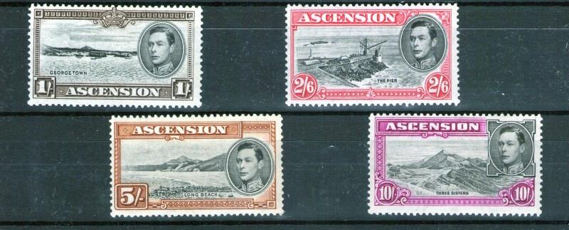 ASCENSION 1938 George VI 4 values, multiple  scarce 13.5 perf. MINT cat.£268