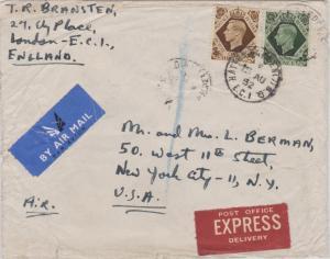 Great Britain 1/- and 9d KGVI 1952 Hatton Garden B.O. E.C. 1 Registered Speci...