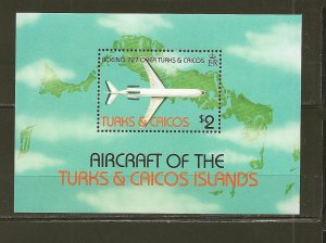 Turks and Caicos Islands 539 Boeing 727 $2 Souvenir Sheet  MNH