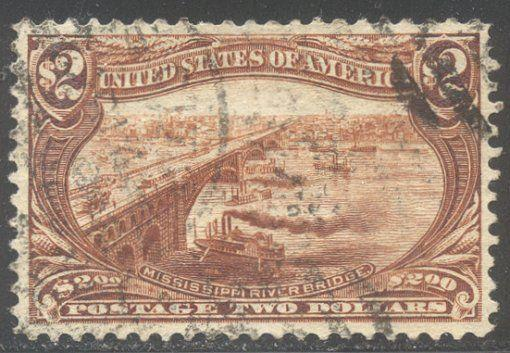U.S. #293 Used VF/XF BEAUTY - 1898 $2.00 Trans-Mississippi