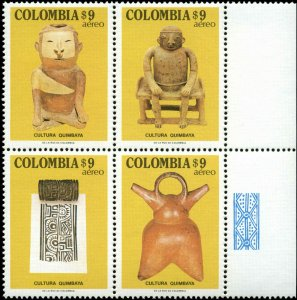 Colombia Scott #C710f Margin Block of 4  Mint Never Hinged