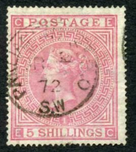 SG126 5/- Rose Plate 1 (Crease) CDS Used Cat 675 pounds