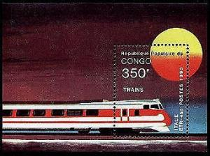 HERRICKSTAMP CONGO Sc.# 883M Trains S/S Wholesale Lot of 3