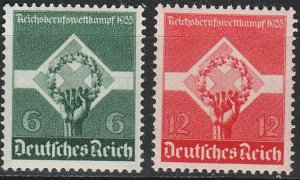 Stamp Germany Mi 571-2 Sc 454-5 1935 3rd Reich Empire War Insignia MNG