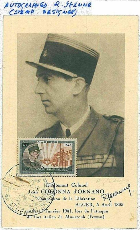 38743 - ALGERIA  - POSTAL HISTORY -  MAXIMUM CARD -  MILITARY  SIGNED BY ARTIST