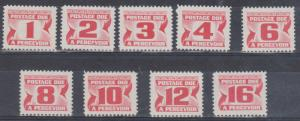 Canada - 1973-1974 Red Postage Dues 9 Different VF-NH