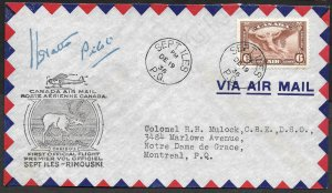Doyle's_Stamps: Canada Post History: Sept Iles-Rimouski 1st Flight Cover w/Signa