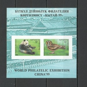 NW0248 IMPERFORATE 1999 KYRGYZSTAN FAUNA BIRDS ANIMALS OWLS PANDAS 1KB MNH
