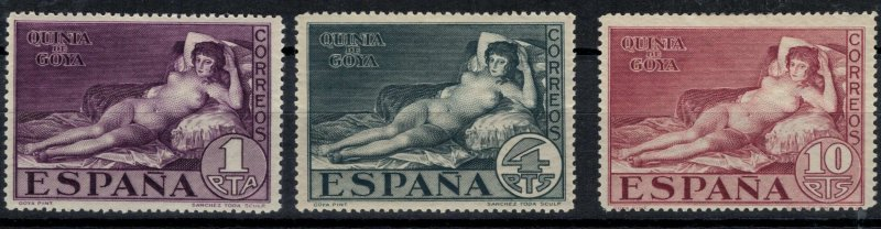 Spain #377-9 Goya nudes High Values CV $14.65
