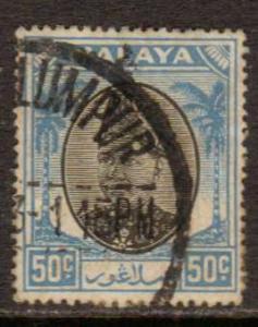 Malaya-Selangor   #91  used/HR  (1949)  c.v. $0.35