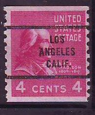 Los Angeles CA, 843-63 Bureau Precancel, 4¢ coil Madison