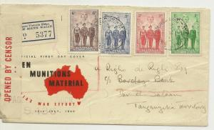 Australia 1940 Censored FDC to Tanganyika