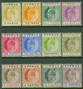 CYPRUS : 1904-10. Stanley Gibbons #60-71 Fresh & VF MOGLH. Catalog £350.00.