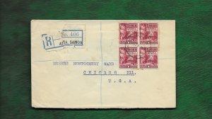 SAMOA  1927 REGISTERED COVER TO CHICAGO