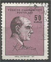 TURKEY, 1966, used 50k, Ataturk Scott 1726