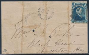 NEWFOUNDLAND #49 ON COVER DOMESTIC USAGE CONCEPTION BAY BT9321