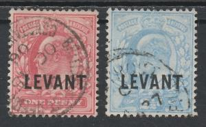 BRITISH LEVANT 1905 KEVII 1D AND 21/2D USED