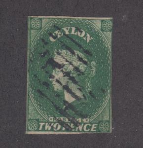 Ceylon Sc 4, SG 3 used 1857 2p green Queen Victoria, Fine+