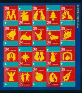 [17045] Netherlands Niederlande 2003 Christmas Sheet MNH