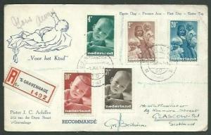 NETHERLANDS 1947 Children's charity registered First Day postcard to UK....58511