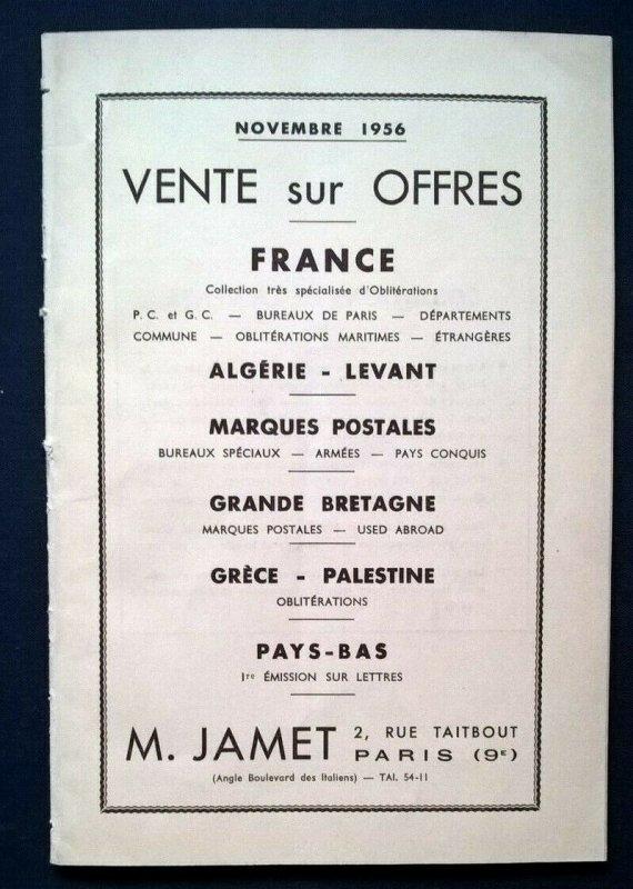 1956 Auction Catalogue FRANCE COLLECTION TRÈS SPÉCIAL d'OBLITéRATIONS