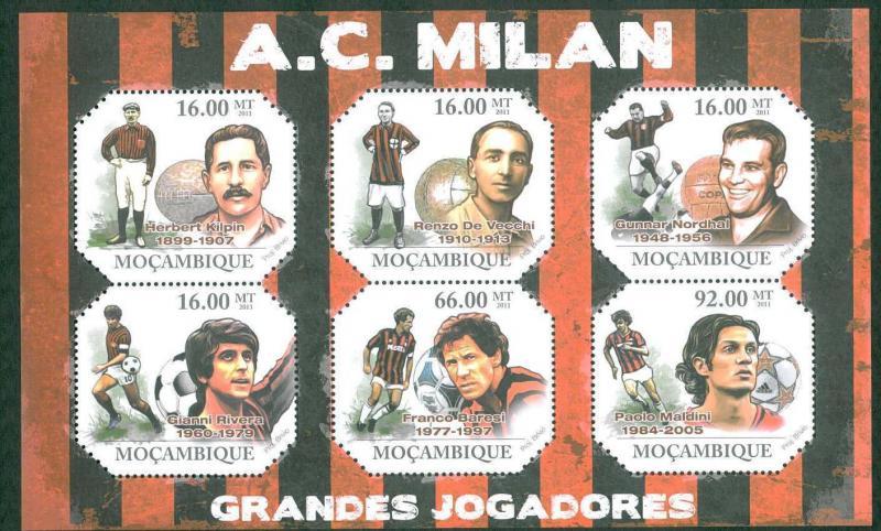 FOOTBALL - MOZAMBIQUE - 2011  SHEET : MILAN - Rivera  Maldini  Baresi  Nordhal