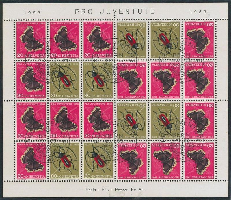 57270 - SWITZERLAND - STAMPS: 1953  PRO-JUVENTUTE full sheet  USED - VERY FINE!!
