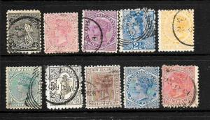 NEW ZEALAND 1882  2nd  SIDEFACE  QV  SET 10   FU