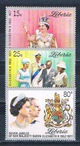 Liberia 788-90 MNH set QEII Reign 1977 (HV0255)