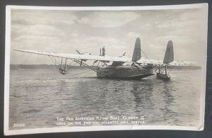 1938 Kent England RPPC Postcard Cover Pan American Flying Boat Clipper II