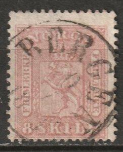 Norway 1863 Sc 9 used Bergen CDS
