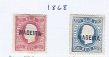 MADEIRA 1868 #10 & #14 SCV $165.00  MH AT 14% OF CAT VALUE!