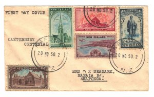New Zealand Sc#274-278 First Day Cover - Kaponga Cancel