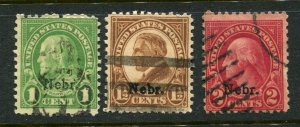 1929 issue #669, 670, 671 NEBR OVPTS