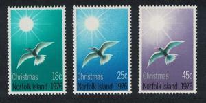 Norfolk Swallow-tailed Tern Birds Christmas 3v issue 1976 SG#176-178 SC#198-200