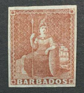 MOMEN: BARBADOS SG #5 BLUE PAPER 1852-5 MINT OG H LOT #192430-1205