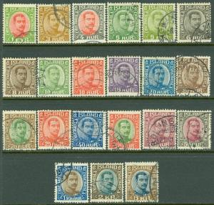 EDW1949SELL : ICELAND 1920-22 Complete set Very Fine, Used. Choice. Sc Cat $235.